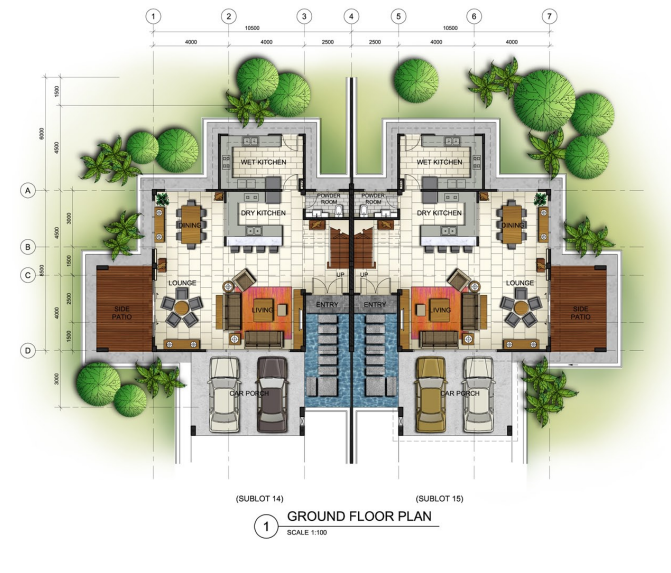 Palm residence kuching sarawak hasb for Double storey semi detached house floor plan